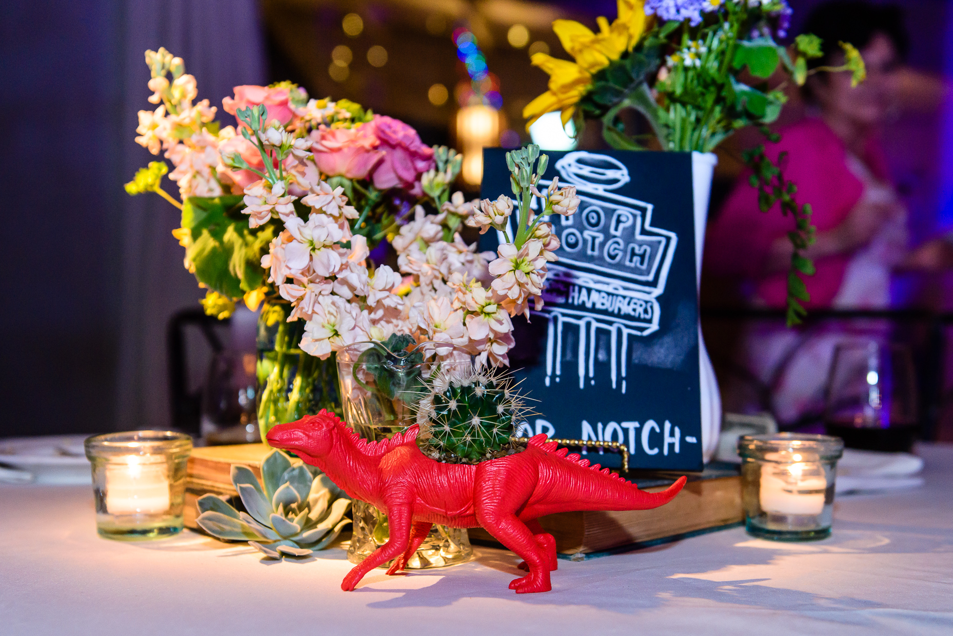 Austin-Wedding-Photographer-Barr-Mansion-creative-table-setting-dinosaur