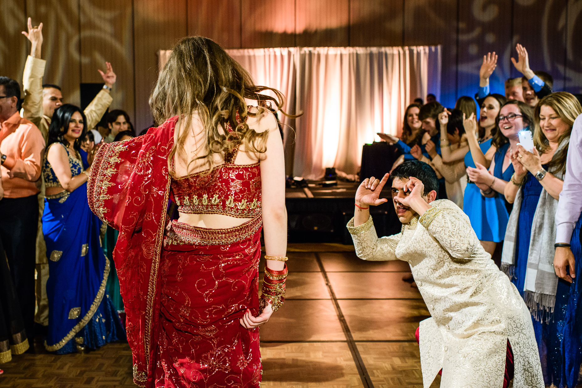 Austin-Wedding-Photographer-Hindu-Lost-Pines-Hyatt-Reception-dancing