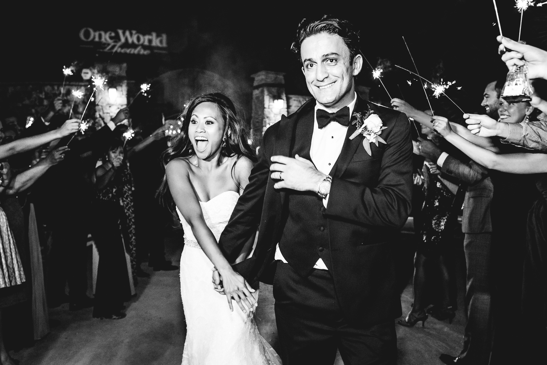 Austin Wedding Photographer-sparkler-exit-one-world-theatre
