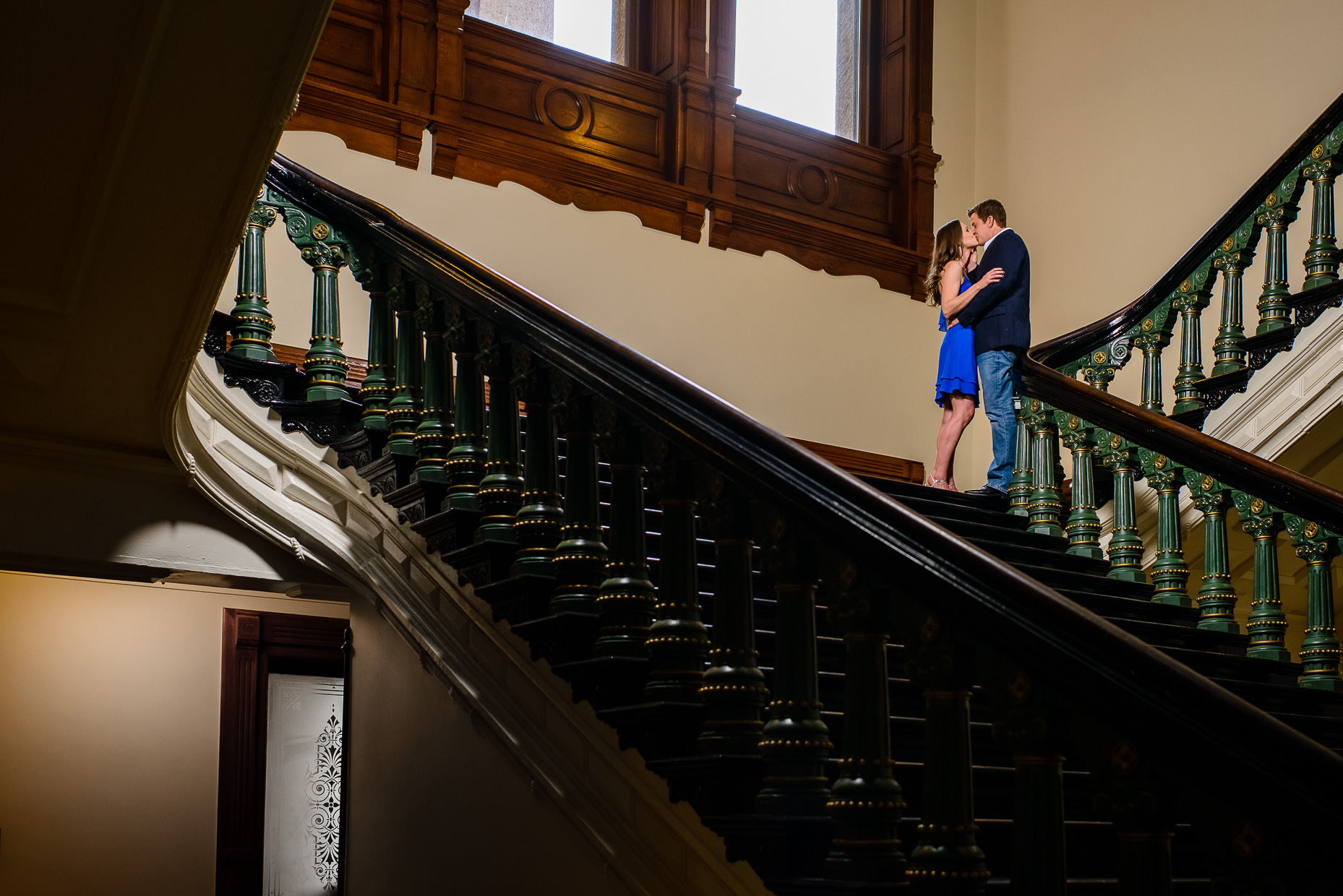 Austin-Wedding-Photographer-capitol-stairway-engagement-creative