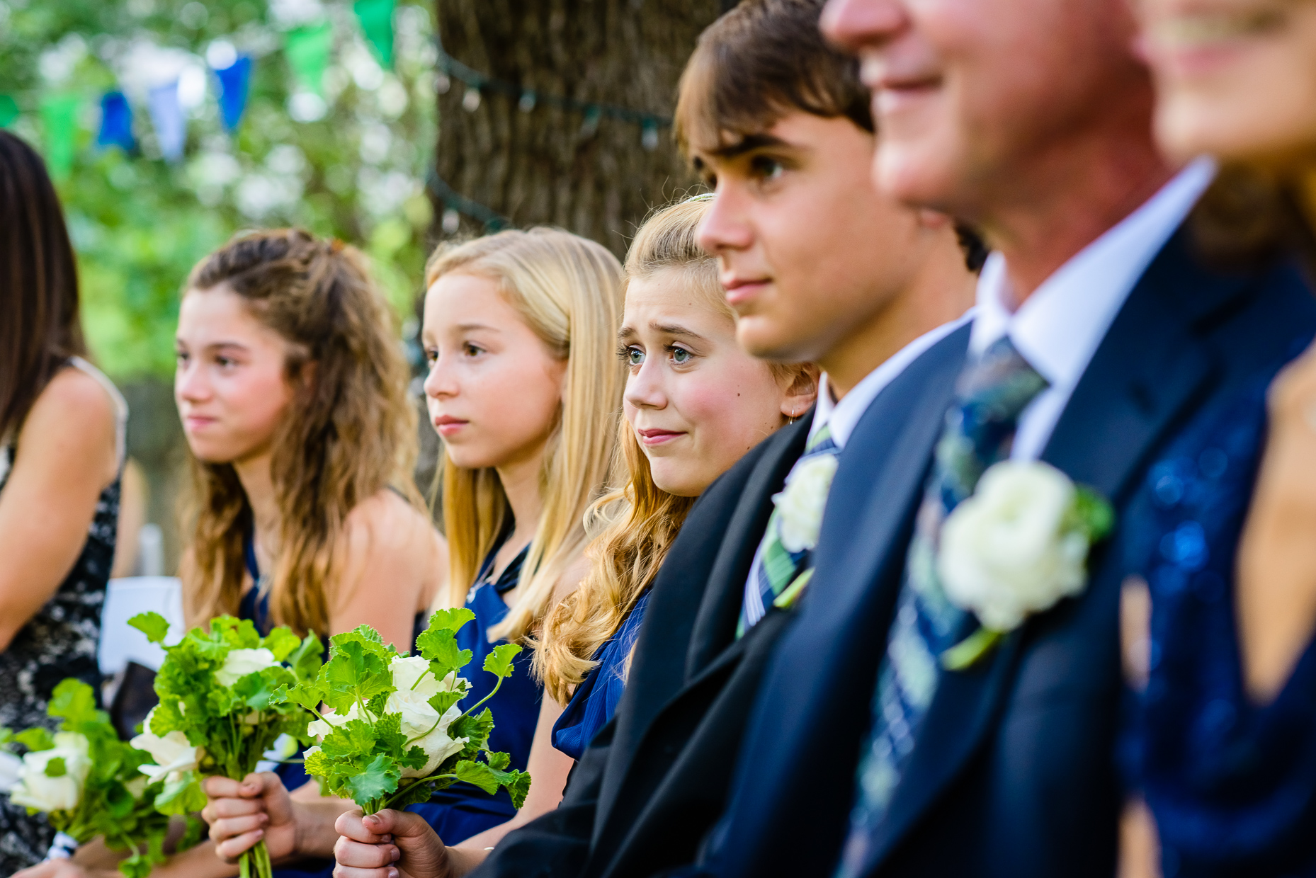 Austin-Wedding-Photographer-ceremony-girl-crying-Green-Pastures