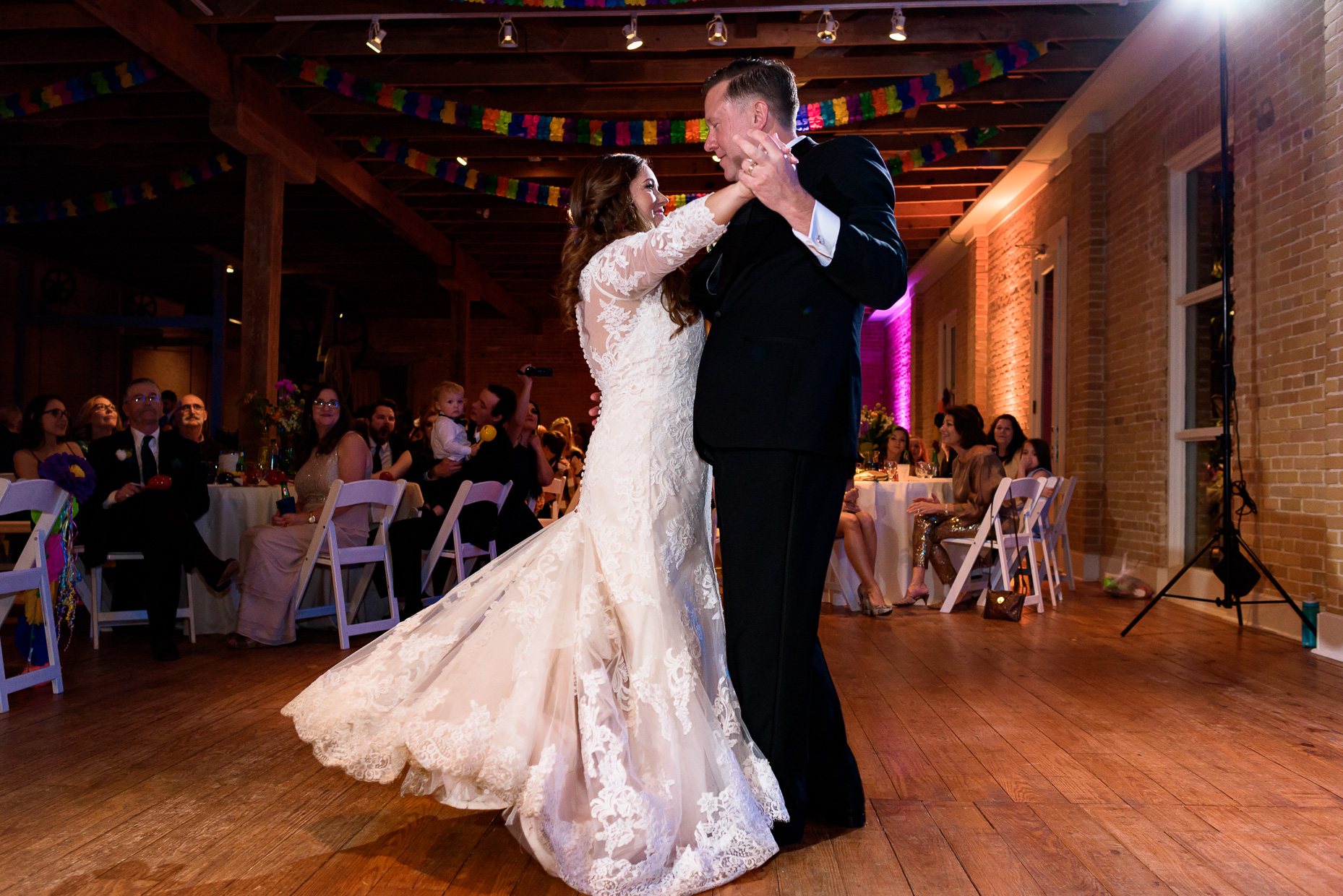 Austin-Wedding-Photographer-first-dance-lace-dress-zaza-gardens-san-antonio