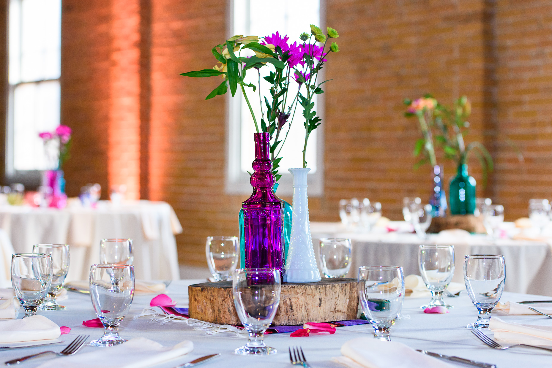 Austin-Wedding-Photographer-table-setting-glass-color-san-antonio-flowers-wood