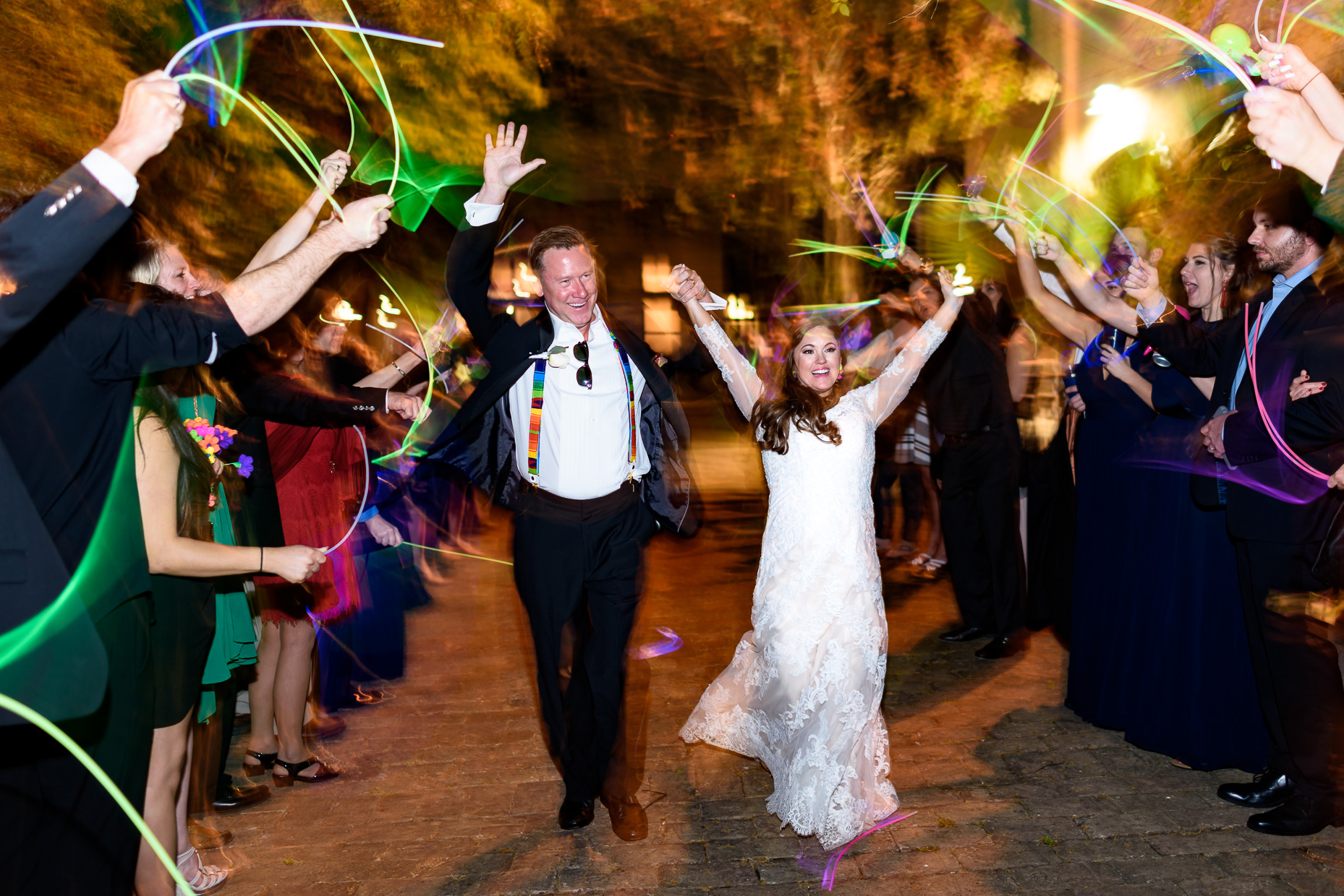 Austin-Wedding-Photographer-zaza-gardens-glow-stick-exit-san-antonio