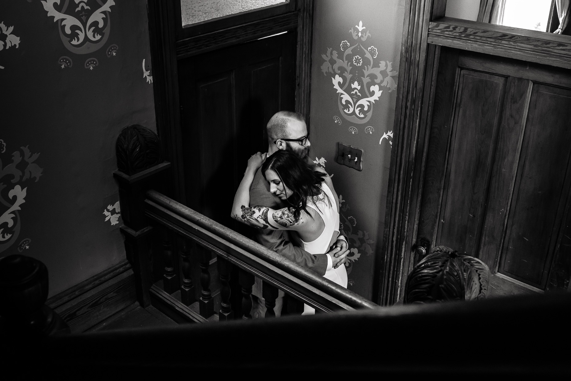 fine-art-black-white-portrait-tattooed-bride-barr-mansion-austin-wedding-photographers