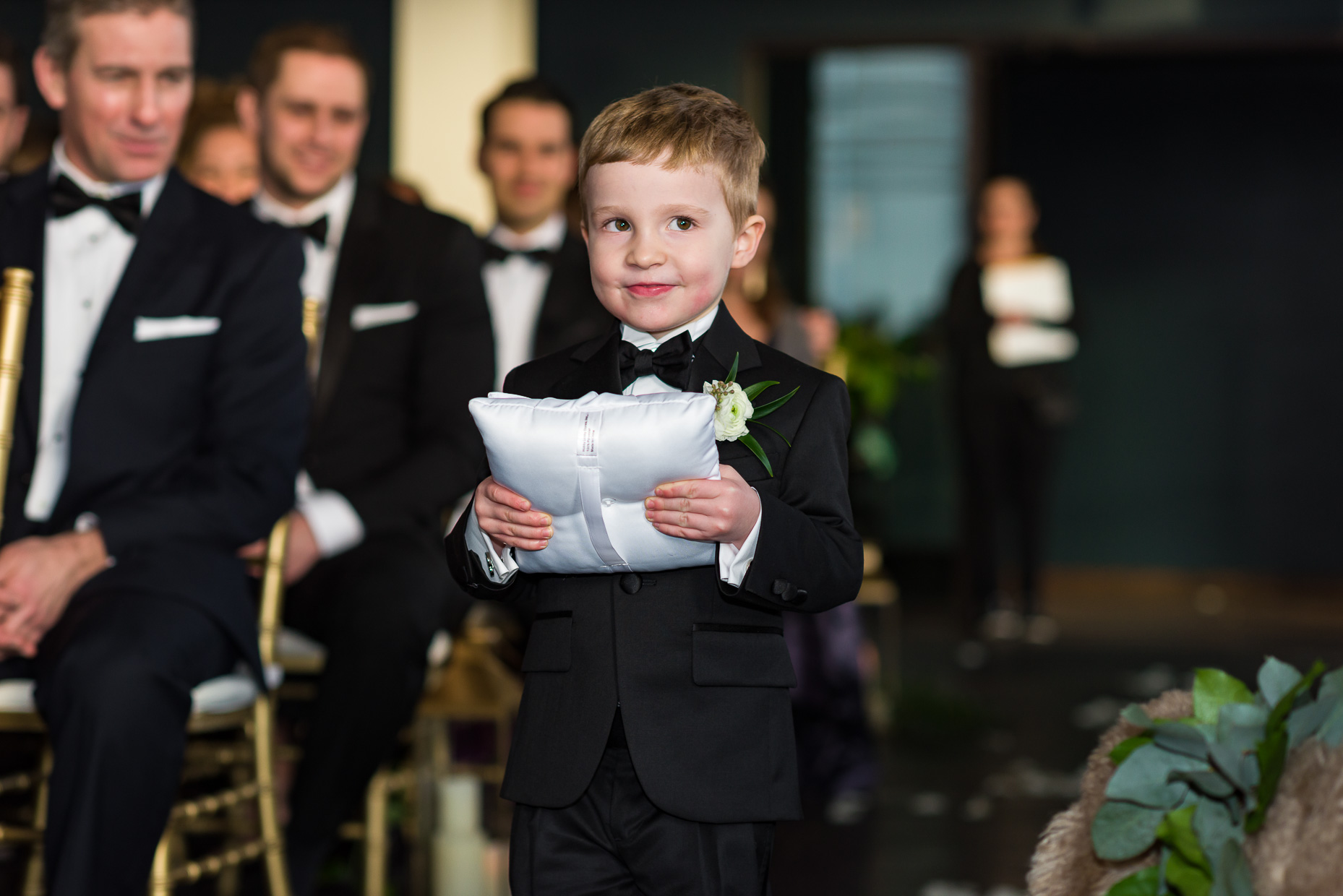 Austin-Wedding-Photographers-Downtown-Brazos-Hall-ring-bearer-tuxedo-boy-cute