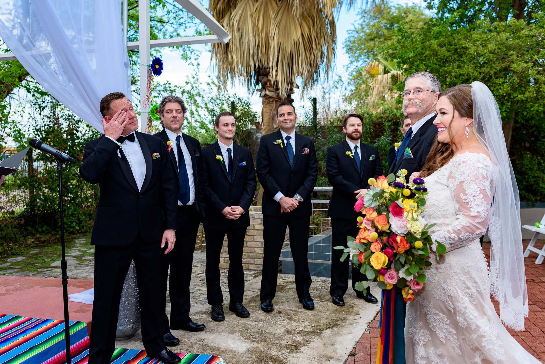 Austin-Wedding-Photographers-ceremony-groom-cry-San-Antonio-zaza-gardens