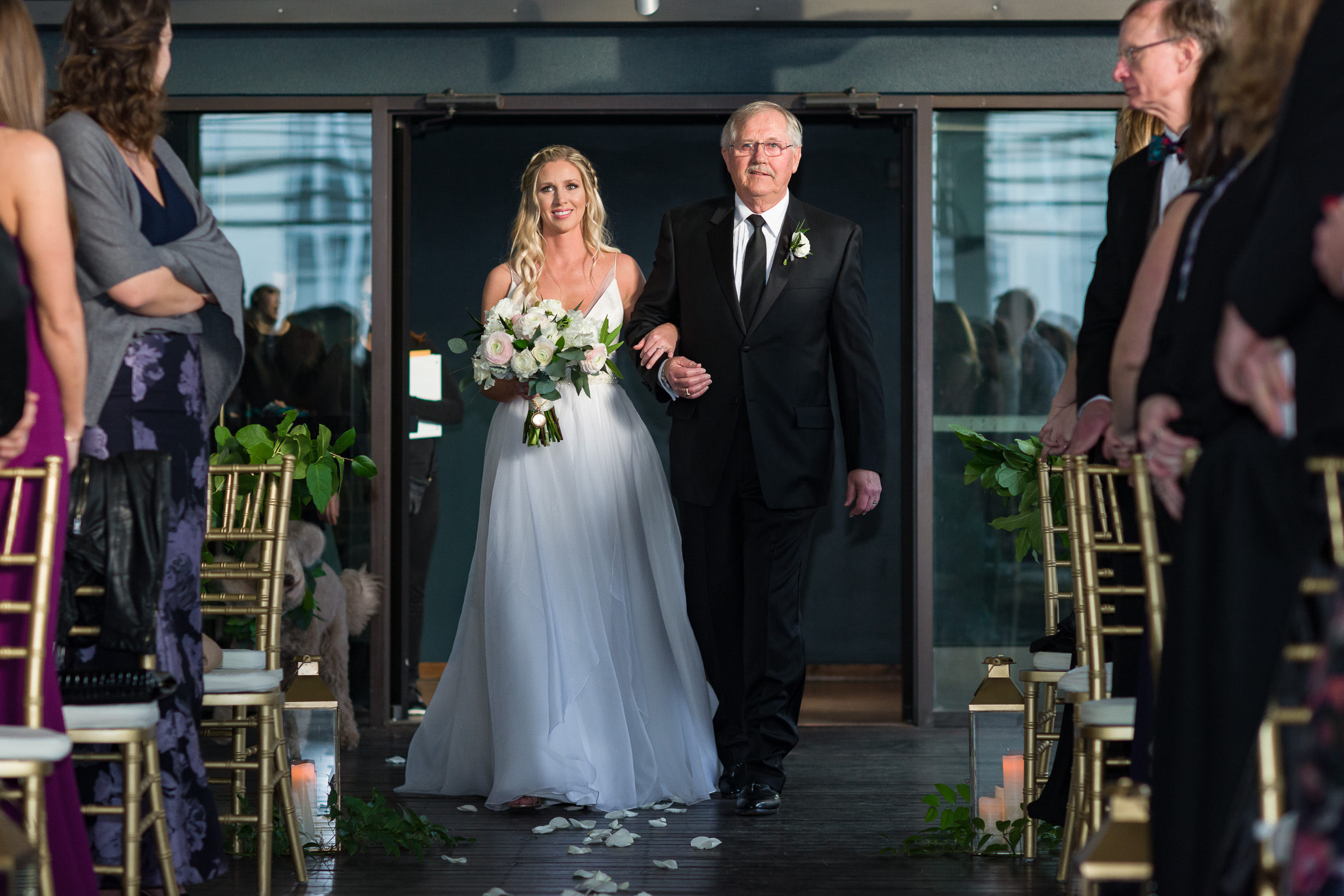 Austin-wedding-photographers-brazos-hall-downtown-bride-father-walking-aisle