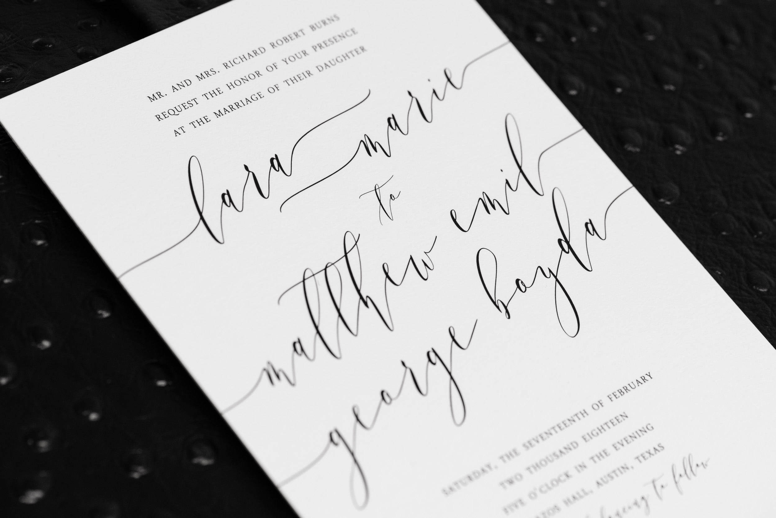 Austin-wedding-photographers-brazos-hall-downtown-invitation-black-white-script-modern-elegant