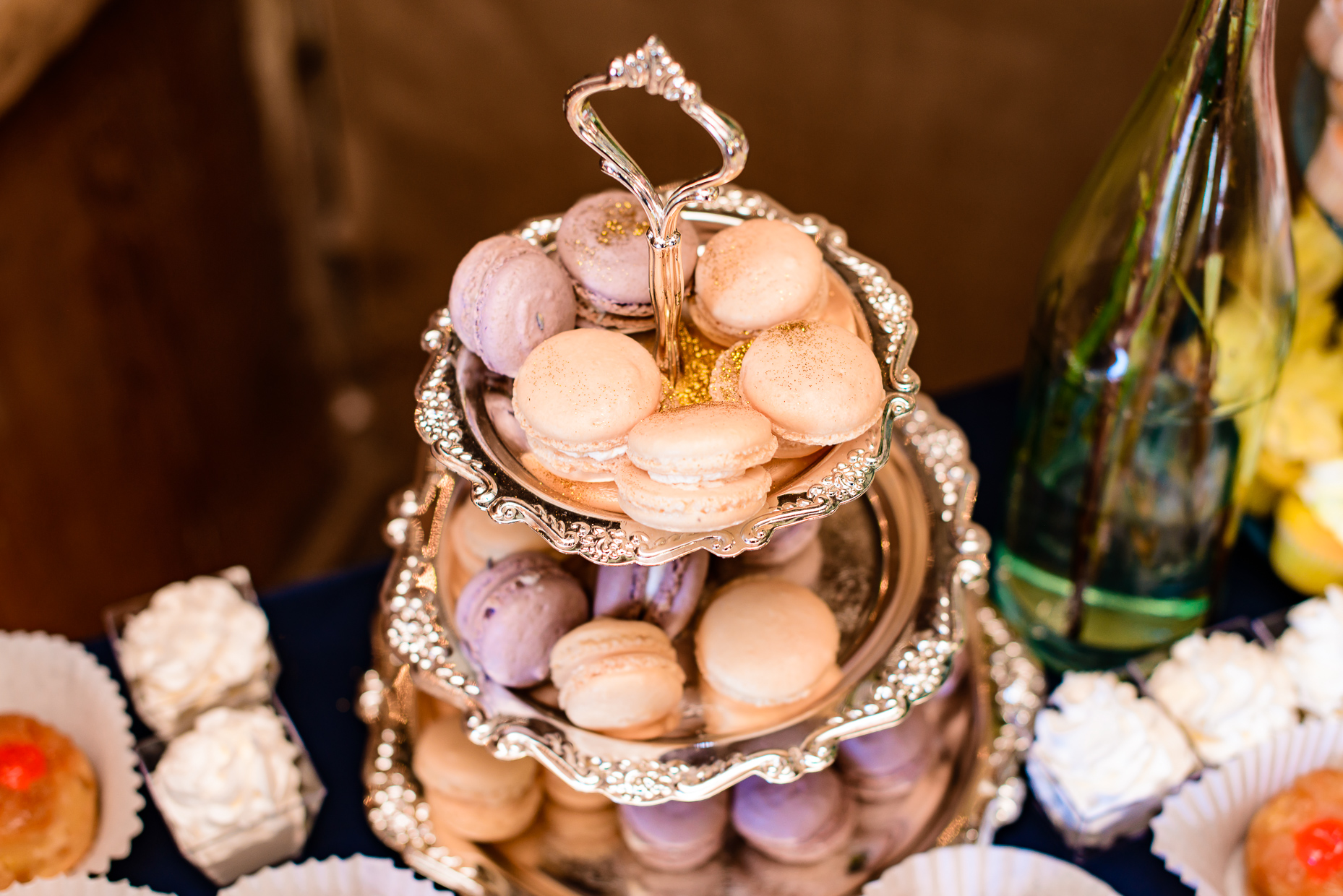 french-macaroon-dessert-silver-platter-austin-wedding-photographer