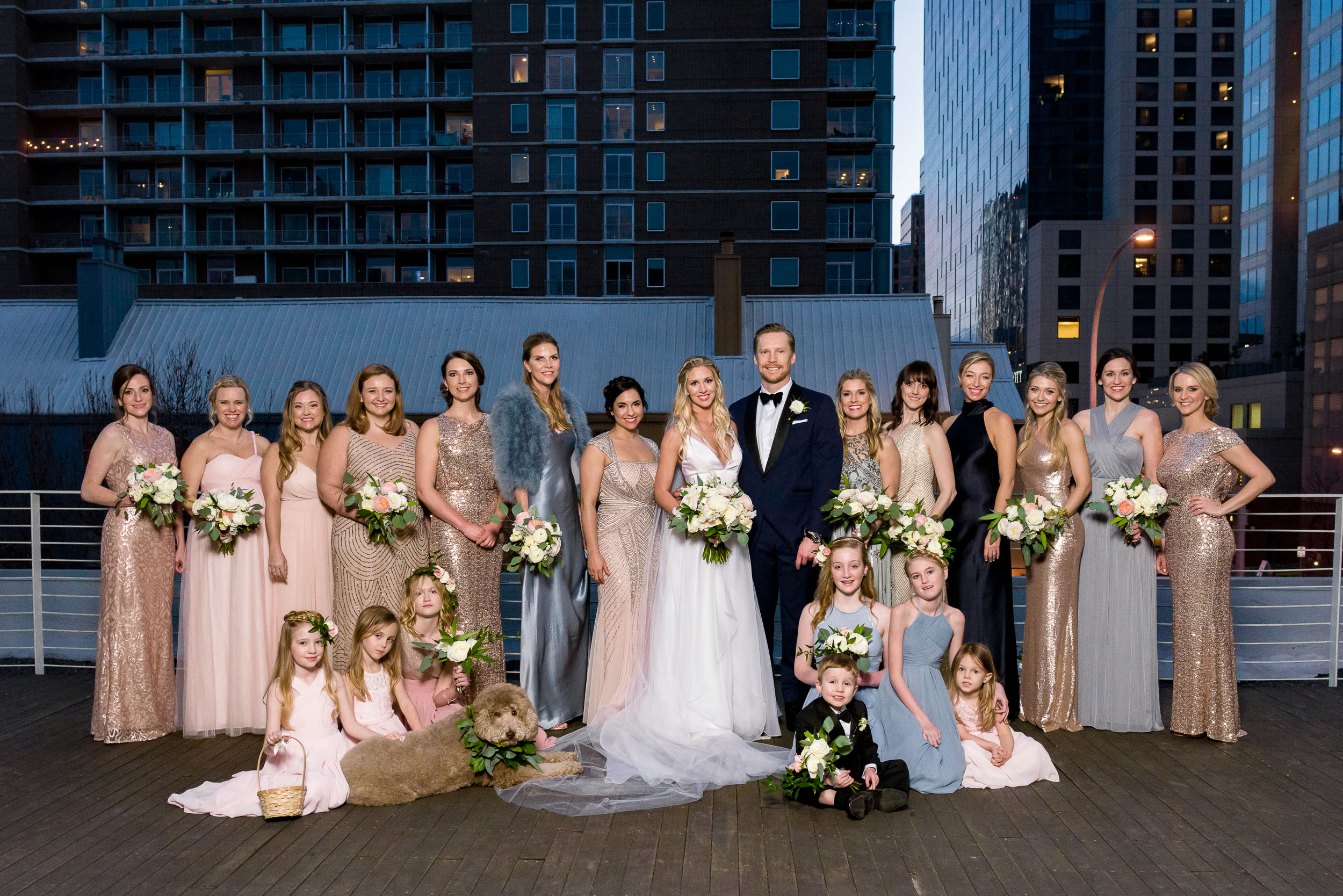 bridal-party-portrait-elegant-outdoor-rooftop-deckAustin-wedding-photographers-brazos-hall-downtown-