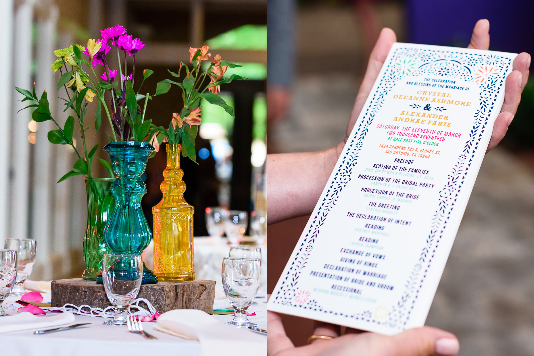 ceremony-table-setting-vase-flower-colorful-austin-wedding-photographer